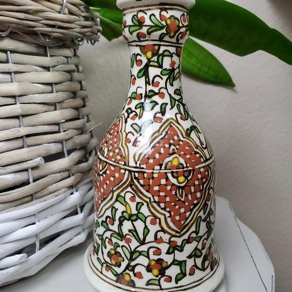Vintage italian? decanter vase handpainted